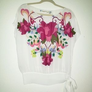 Anthropologie Chelsea & Violet White W Floral Top